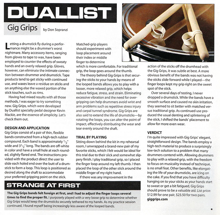 Modern Drummer Magazine review of Gig Grips